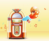 Classic juke box. Vector illustration in retro style of party abstract background with detailed classic juke box royalty free illustration