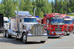 Classic Kenworth and Finnish Cab Over Show Trucks Royalty Free Stock Photo