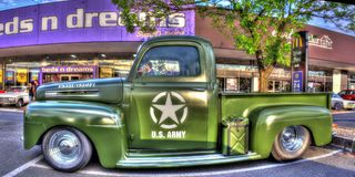 Classic 1950s U.S Army Ford pickup truck stock photography
