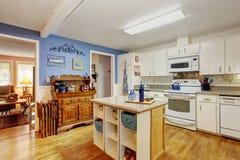 Classic kicthen with hardwood floor. Classic kitchen with hardwood floor, island, and windows Stock Photo