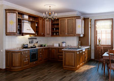 Classic kitchen. Interior design idea.Computer graphic rendering. Cherry wood texture Royalty Free Stock Photo