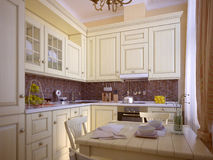Classic kitchen. In the house Royalty Free Stock Photo