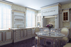 Classic Kitchen Cabinet In Provence Vintage Style Stock Images