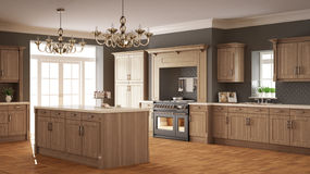Classic kitchen, elegant interior design with wooden details Stock Image