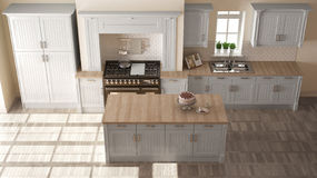 Classic kitchen, elegant interior design with wooden details Stock Images