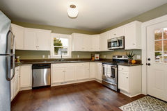 Classic kitchen with green interior paint, and white cabinets. Classic kitchen with green interior paint, hardwood floor, and white cabinets Stock Images