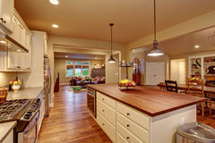 Classic kitchen with hardwood floor and an island. Stock Photography