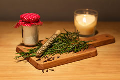 Classic kitchen ingredients on wooden tray Stock Photo
