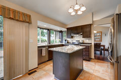 Classic Kitchen room design with kitchen island Royalty Free Stock Photography