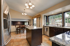 Classic Kitchen room design with kitchen island Royalty Free Stock Image