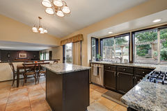 Classic Kitchen room design with kitchen island Stock Photo