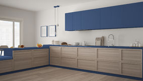 Classic kitchen with wooden details and parquet floor, minimalist white and blue interior design vector illustration