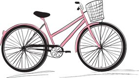 Classic ladies shopping bike. stylish illustration Stock Photos