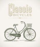 Classic ladys bicycle. Vintage illustration with a classic ladys bicycle. Editable layered vector Royalty Free Stock Photo