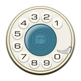 Classic land line rotary dial  on white vector Stock Photo