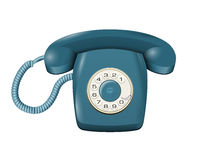 Classic land line rotary telephone  on white vector Stock Photography