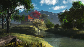 Classic landscape. Composition with river trees house and mountain in the background Royalty Free Stock Photo