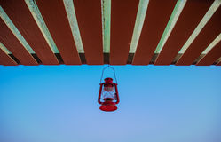 Classic Lantern hang on the eaves. With blue sky background Stock Photography