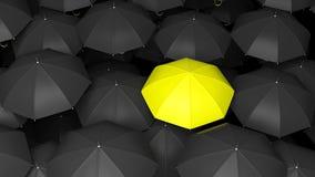 Classic large black umbrellas tops Stock Photography