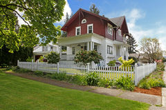 Classic large craftsman old American house exterior. Stock Photo