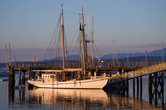 Classic large wooden schooner sailboat Royalty Free Stock Photos