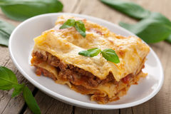 Classic lasagna bolognese stock images