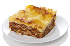 Classic lasagna bolognese isolated Stock Photos