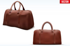 Classic Leather Bag Set Stock Photo