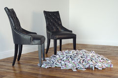 Classic Leather Black Chairs In Interior With Money Royalty Free Stock Photo