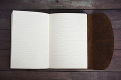 Classic Leather Bound Journal Book Fully Open on a Old Barn Board Floor Royalty Free Stock Images