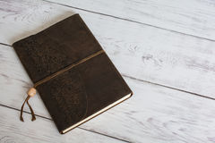 Classic Leather Bound Journal Book on a White Barn Board Floor Close Up Stock Images