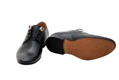 Classic leather men shoes isolated on white Royalty Free Stock Photo