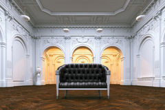 Classic leather sofa in big luxurious mansion. Perspective view. 3d render Royalty Free Stock Photography