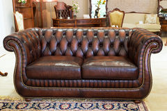 Classic leather sofa Stock Photos