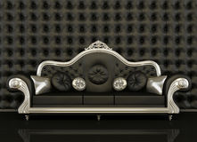 Classic leather sofa with a silver frame. On black background Stock Illustration