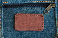 Classic leather tag. Close up of retro brown leather tag royalty free stock photos