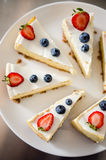 Classic lemon cheesecake with berries. Delicious cheesecake with blueberry and strawberries Royalty Free Stock Photo