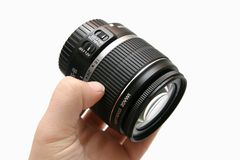 Classic lens 18-55 IS in hand Royalty Free Stock Photography