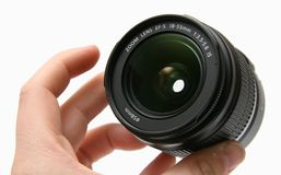 Classic lens 18-55 IS in hand Stock Photos
