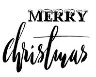 Classic lettering design for a Christmas greetings card. Black and white vector illustration Stock Photo