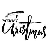 Classic lettering design for a Christmas greetings card. Black and white vector illustration Royalty Free Stock Image