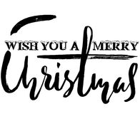 Classic lettering design for a Christmas greetings card. Black and white vector illustration Stock Photos