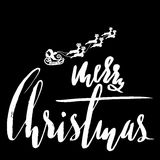 Classic lettering design for a Christmas greetings. Santa Claus riding a sleigh with Christmas deers. Black and white. Vector illustration Royalty Free Stock Photography