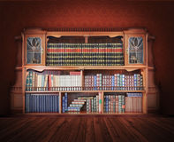 Classic library. Antique Furniture. With books stock photos