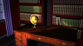 Classic library with old globe stock footage
