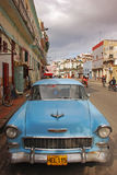 Classic light blue Cuban Car at roadside in Havana Stock Image