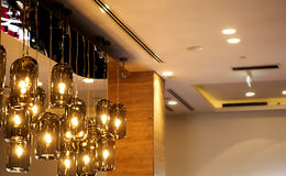 Classic light bulbs decorated in bar. Photo of classic light bulbs decorated in bar Royalty Free Stock Photos