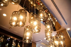 Classic light bulbs decorated in bar. Photo of classic light bulbs decorated in bar Stock Images