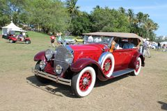 Antique american luxury car driven Royalty Free Stock Photography
