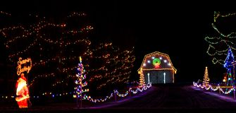 A Classic Play on the Gingerbread House with Christmas Lights royalty free stock images